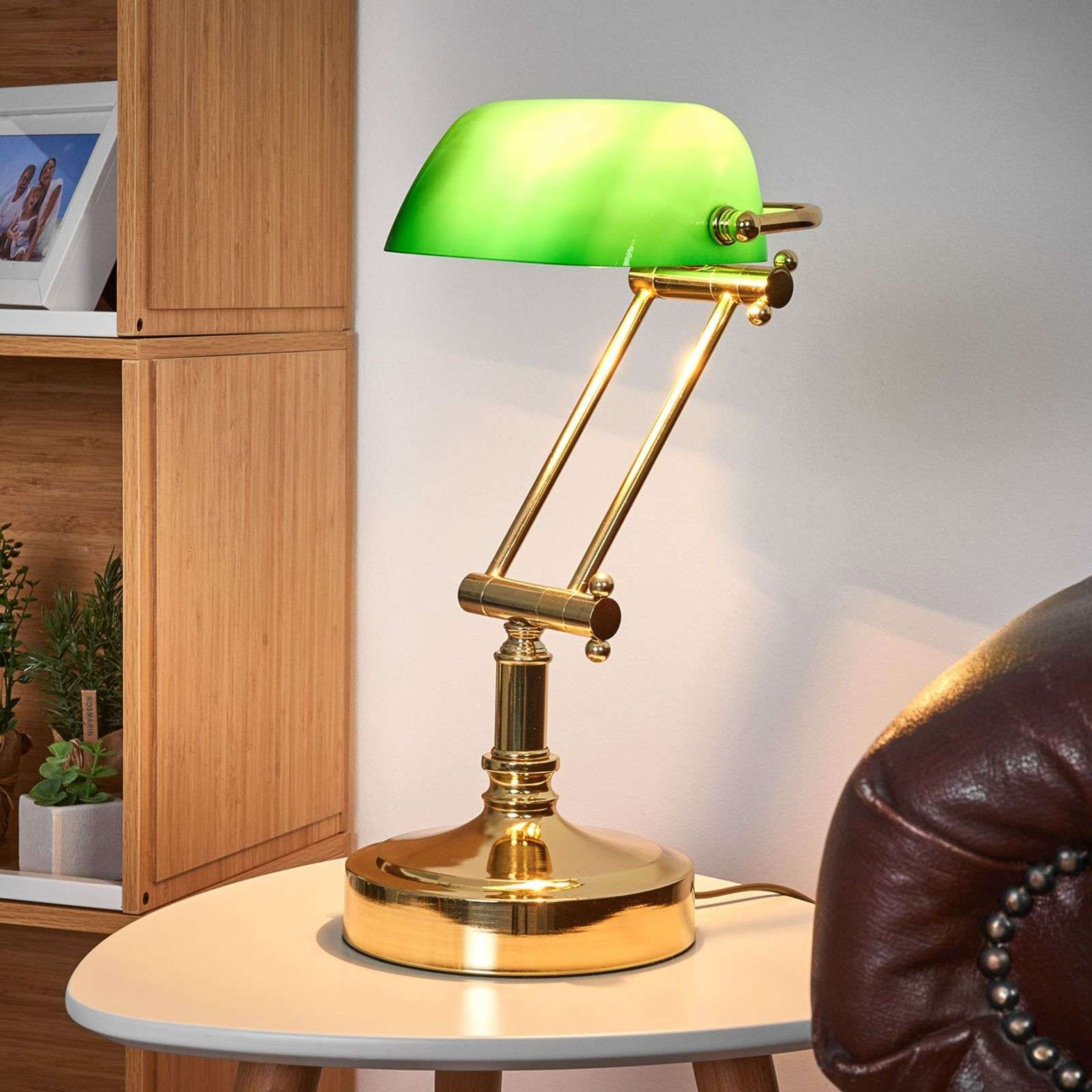 Lampe Banquier Steve Avec Diffuseur En Verre Vert Lampe Banquier Lampe Diffuseur