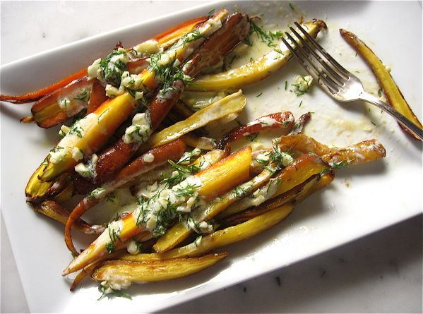Summer roasted carrots with dill infused yogurt and ginger.