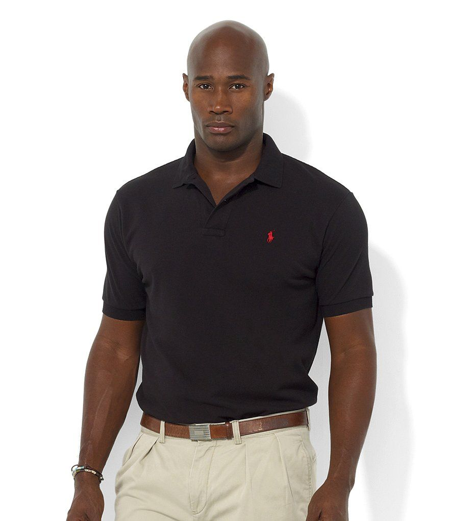 45847332dbb Polo Black Red Polo Ralph Lauren Big   Tall Classic-Fit Short-Sleeved  Cotton Mesh Polo Shirt