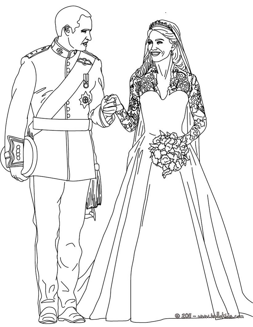 Kate And William Coloring Pages The Royal Wedding Wedding Coloring Pages Royal Wedding Colors Coloring Pages