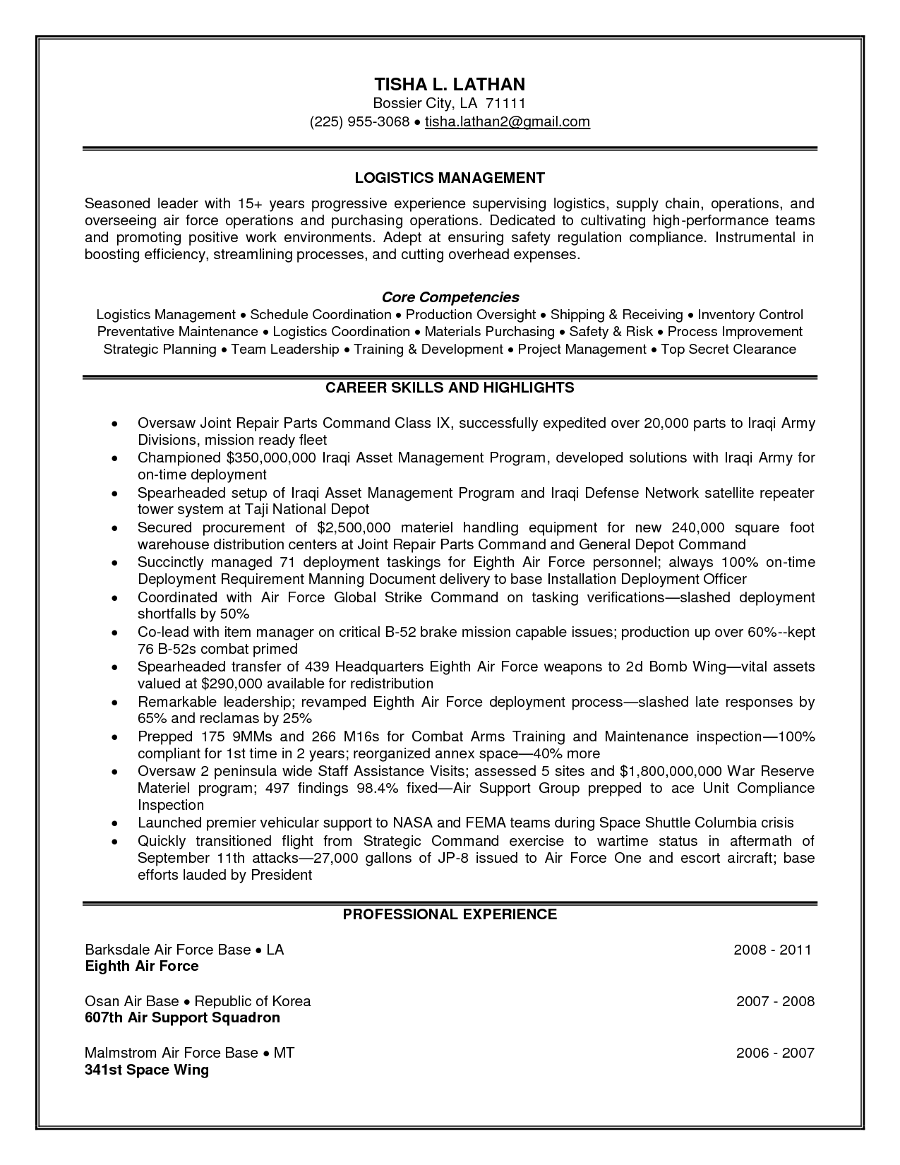 logistics operations manager resume