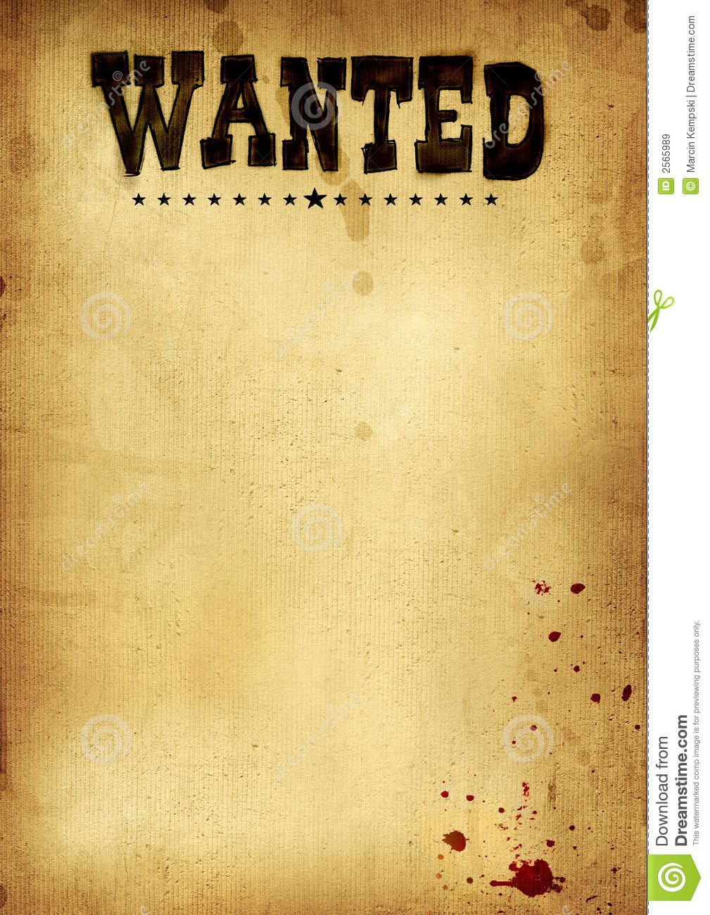 Free Clip Art Wanted Poster Template  Printable Wanted Posters