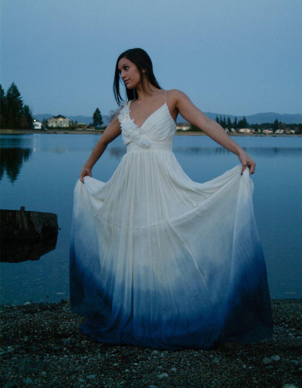 Aline spaghetti straps blue dip dye chiffon wedding dress dip dye