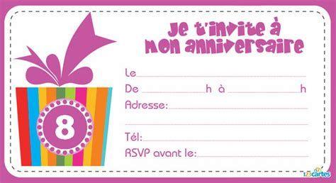 Carte invitation anniversaire fille 8 ans carte d ...   Carte invitation anniversaire
