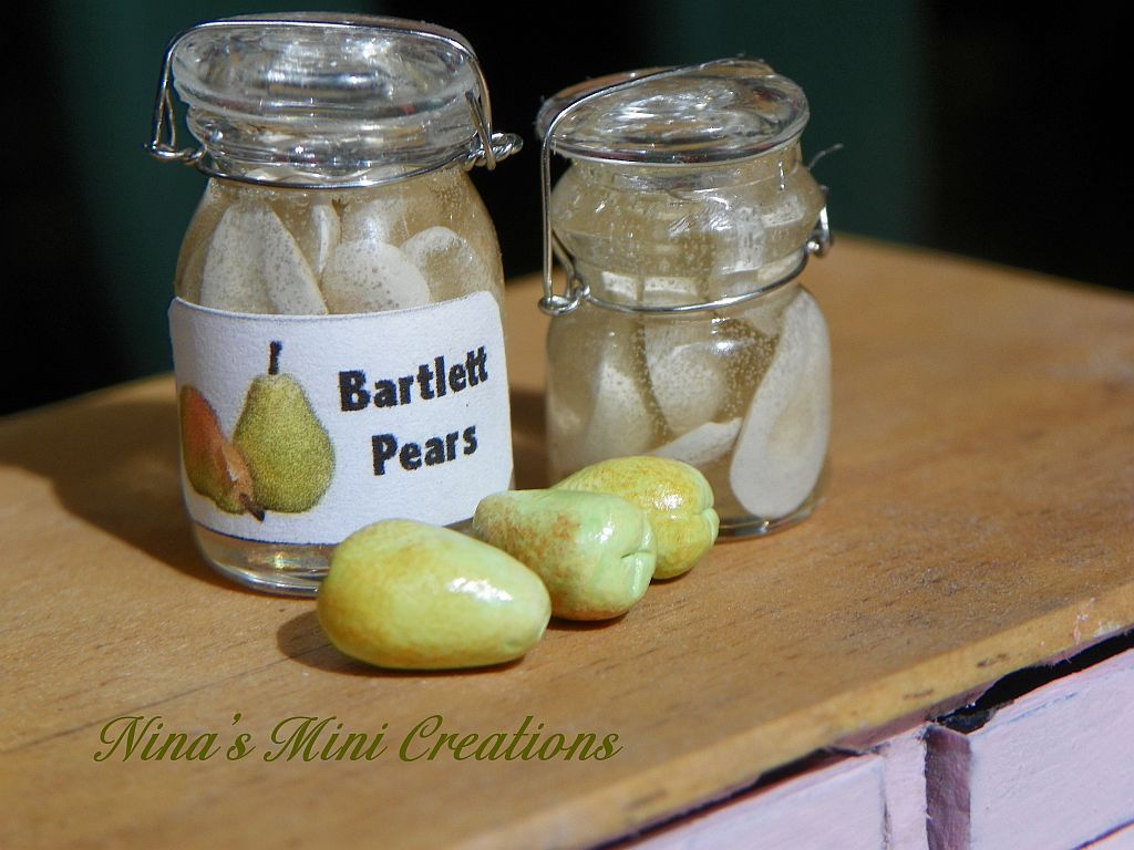 Canned Pears Dollhouse Miniature 1:12 Scale Kitchen Accessory