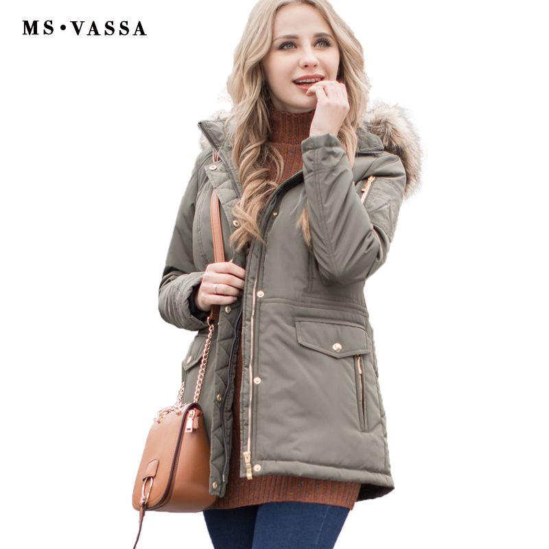 MS VASSA Women Parkas Autumn Winter Ladies jacket army green coat ...