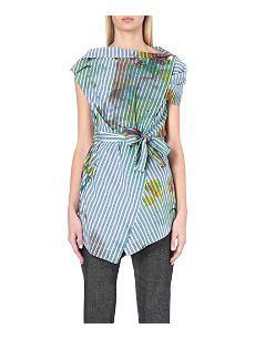 ANGLOMANIA Paint-stroke cotton-blend blouse