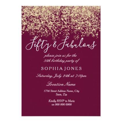 gold glitter confetti burgundy 50th birthday party card