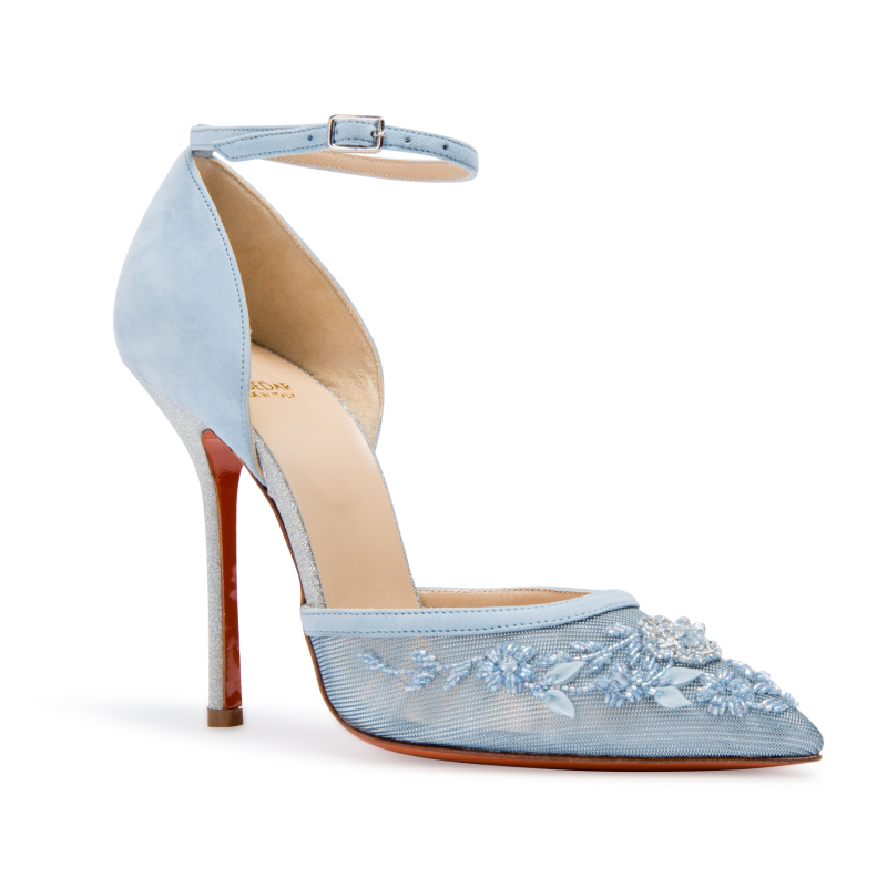 Soebedar Dona Pump In Light Blue Suede And Blue Mesh Featuring
