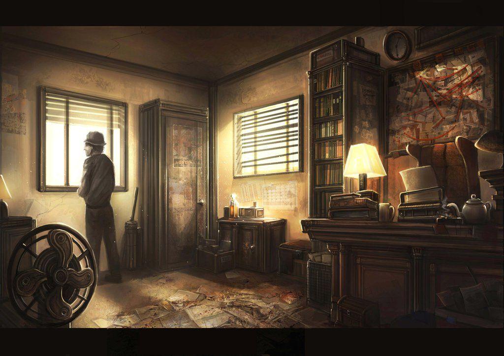 Detective Office By Gremlincat Detective Pulp Art Art