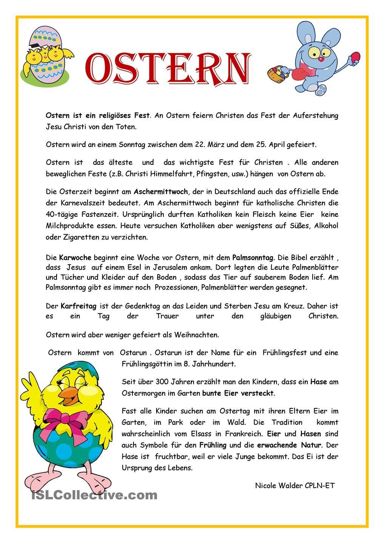 OSTERN | Ostern, Deutsch und Lernen