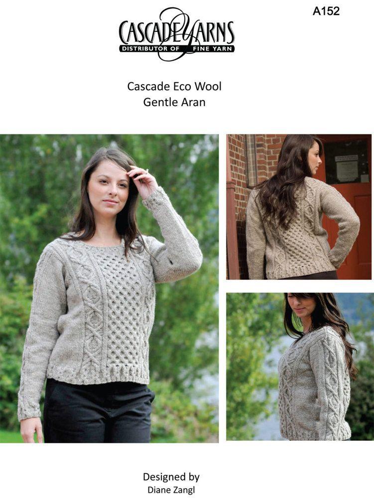 Gentle Aran In Cascade Ecological Wool A152 Free Knitting