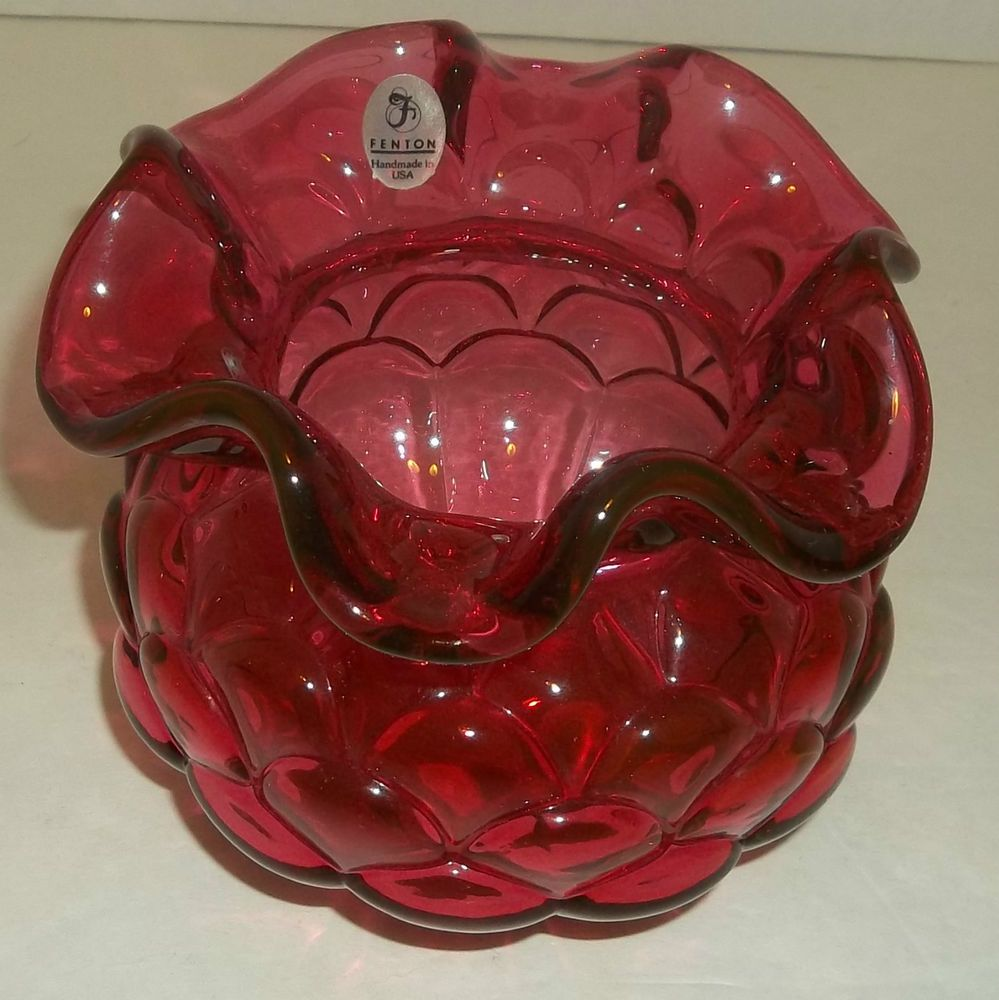 Fenton cranberry vase rose bowl fish scale ruffled top fluted fenton cranberry vase bowl fishscale ruffled top fluted or round base reviewsmspy