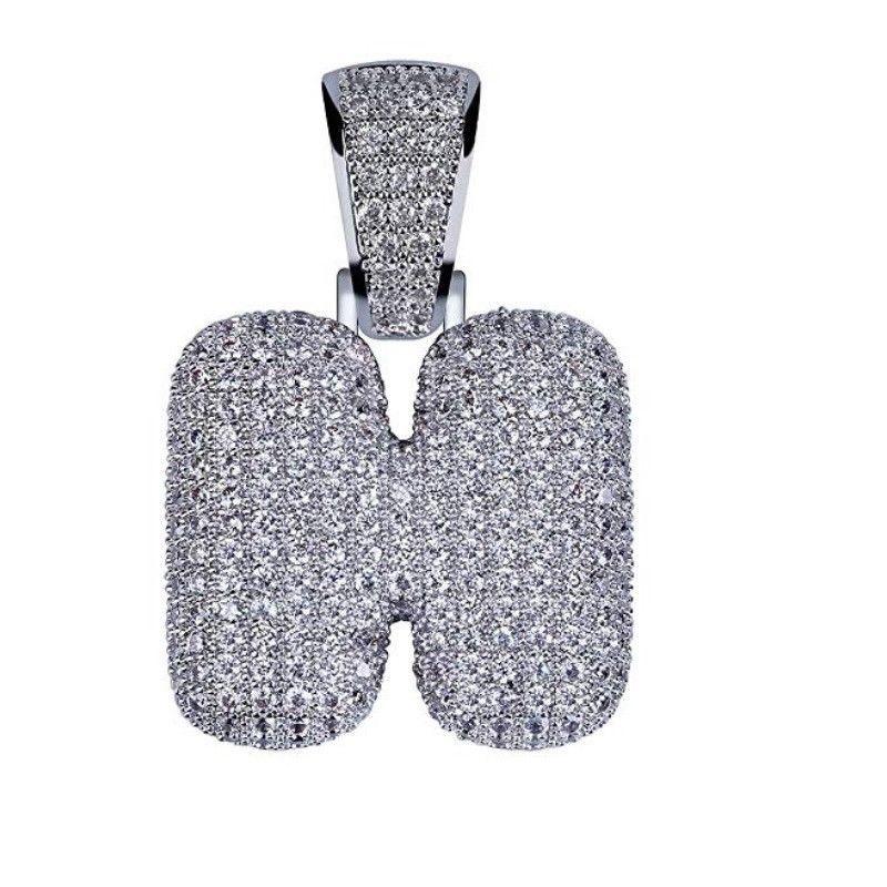 9bee9ea20 925 Silver Custom Bubble Letters Initial Pendant CZ Iced Out Rop A B C D E  F G Z #HECHUANG #Pendant