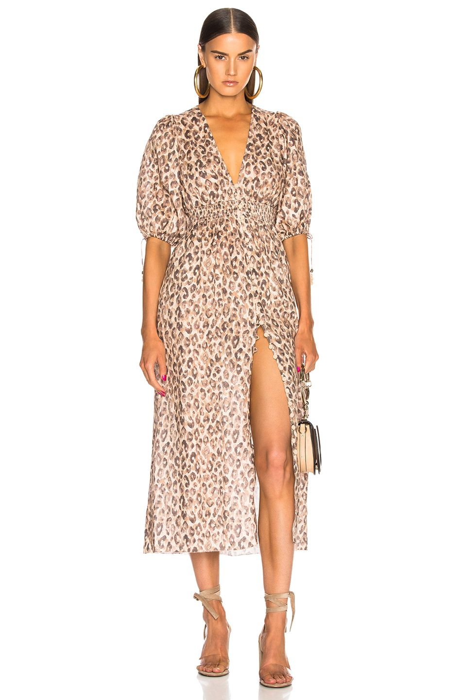 48aee8b426 Zimmermann Melody Shirred Waist Dress in Leopard