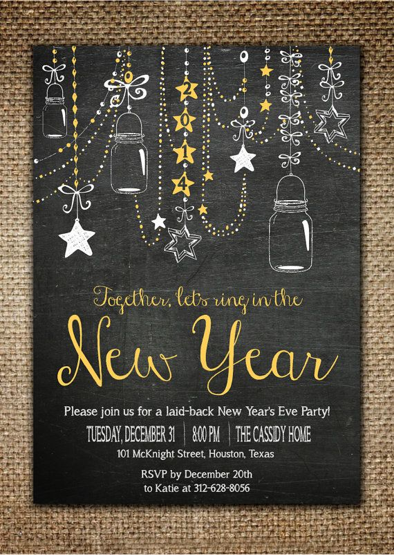 New YearS Invitation  Laid Back New YearS Party Chalk Board