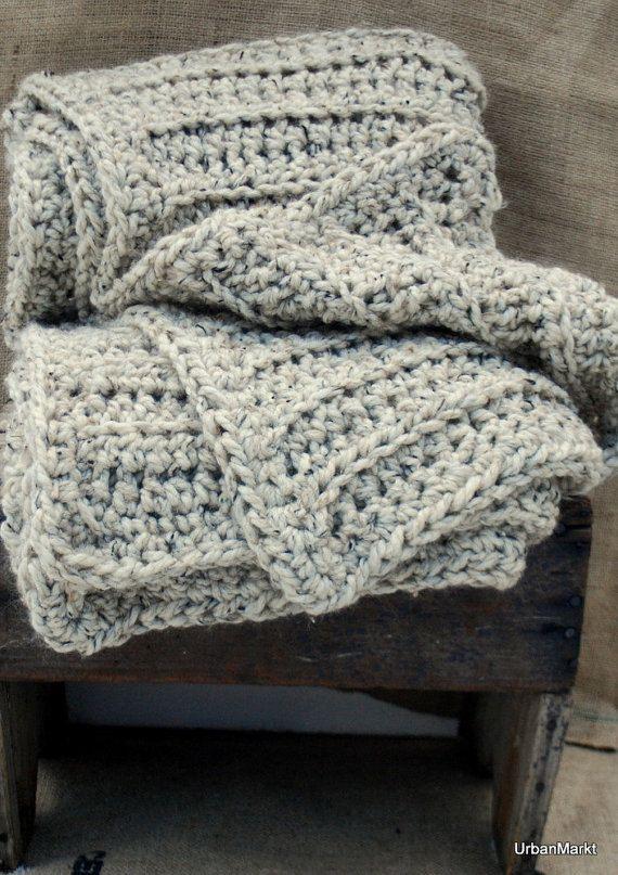 Oatmeal Wool Throw Afghan Home Decor Luxurious Oversize Texture