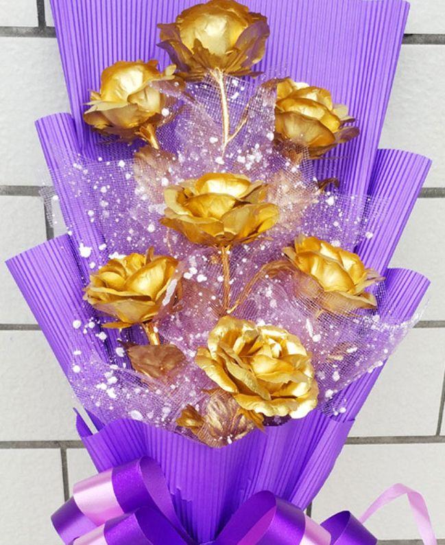 Valentines Gift Lover Gold Rose Flower Birthday For