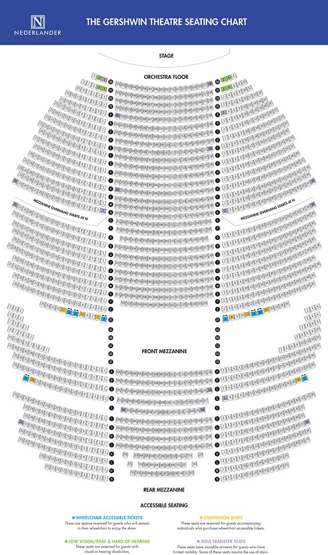 Gershwin Theatre Seating Map Welcome to New York Pinterest - seating chart