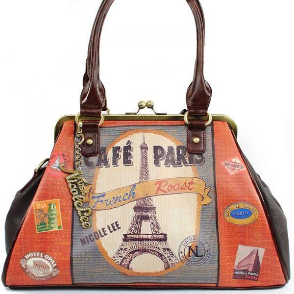 Nicole Lee Gitana Purse Cafe Paris Handbag Kiss Lock @ BagMadness