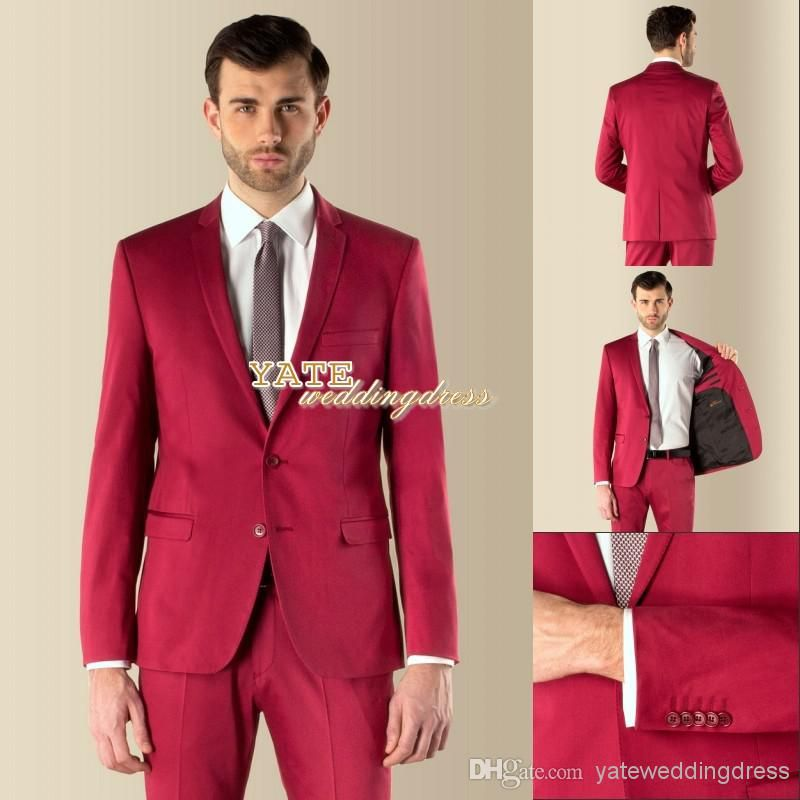 Red Two Buttons Groom Tuxedos Groomsmen Men Wedding Suits | LU ...