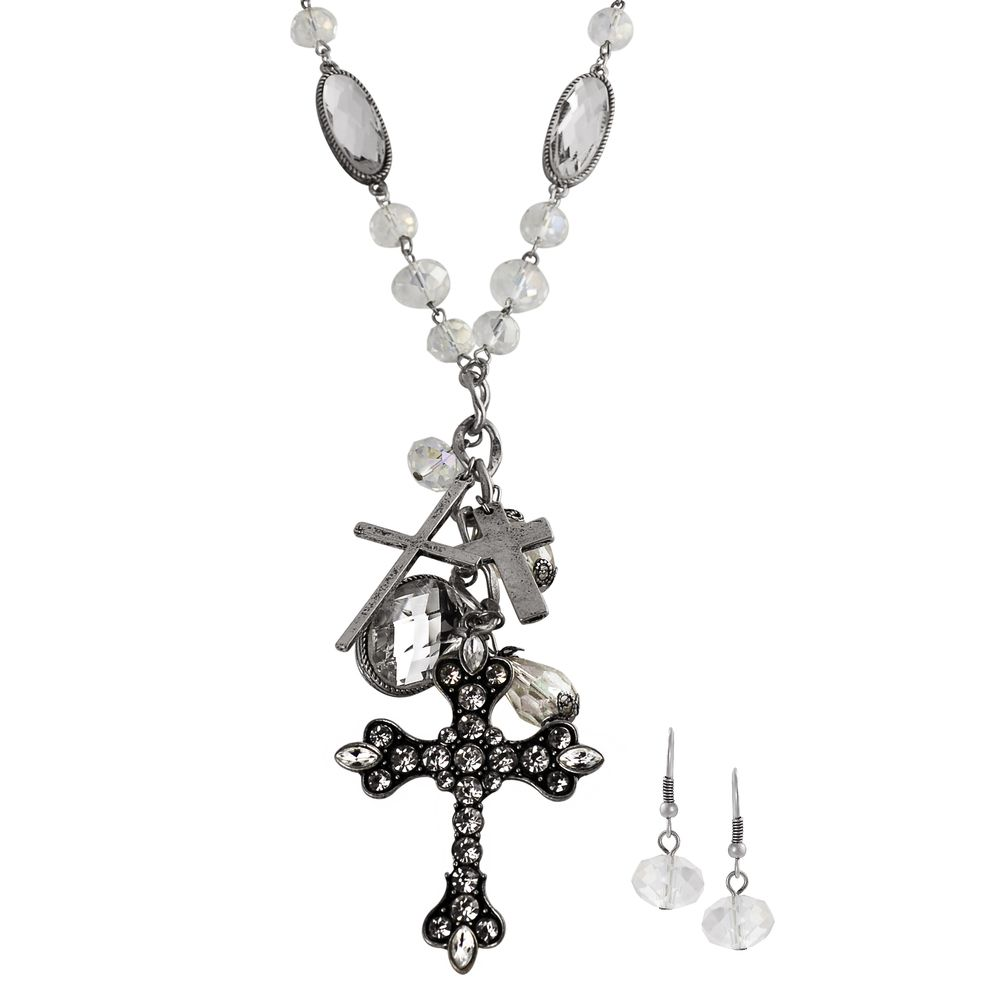 Journee Collection Silvertone Rhinestone Cross Jewelry Set | Overstock.com Shopping - Top Rated Journee Collection Jewelry Sets