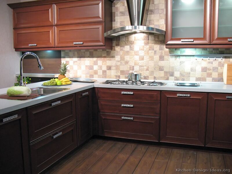 backsplash dark wood kitchensdark kitchen cabinetsdark - Kitchen Backsplash With Dark Cabinets