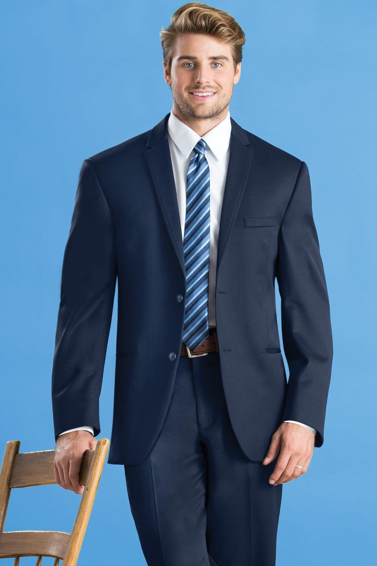 Navy blue sterling slim fit wedding suit michael kors