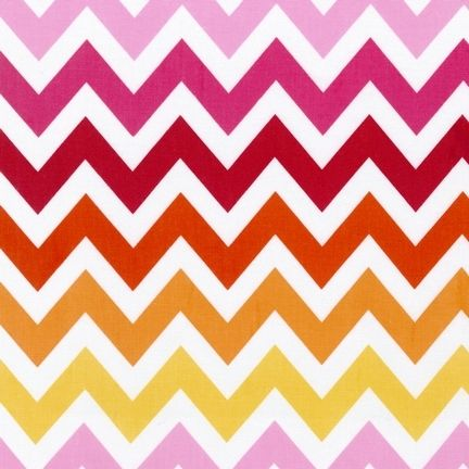 Kaufman, Remix GARDEN LARGE CHEVRON, Anne Kelle Pink Red Yellow Zig Zag Stripe