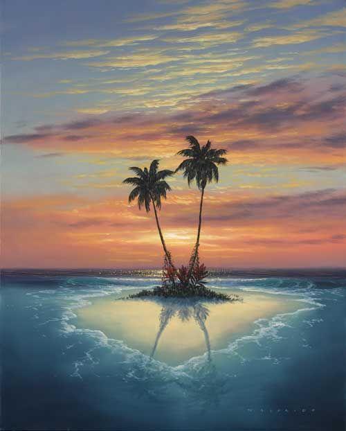Deserted Island Beach: The Art Of Walfrido-Island Love