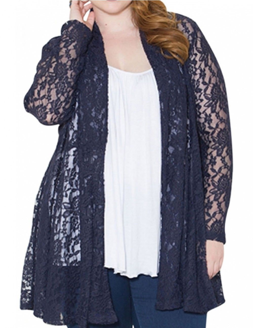 Women's Europe and America Style Loose Lace Cardigan Coat Navy ...