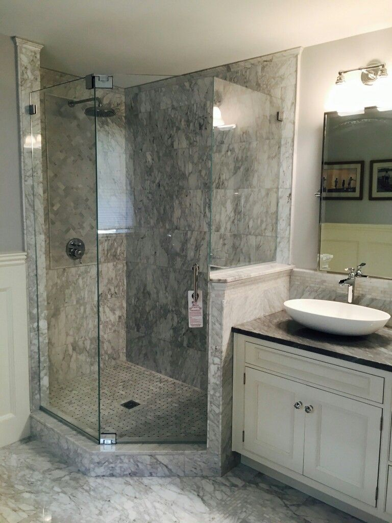 Frameless neo angle shower enclosure with no header | shower door ...