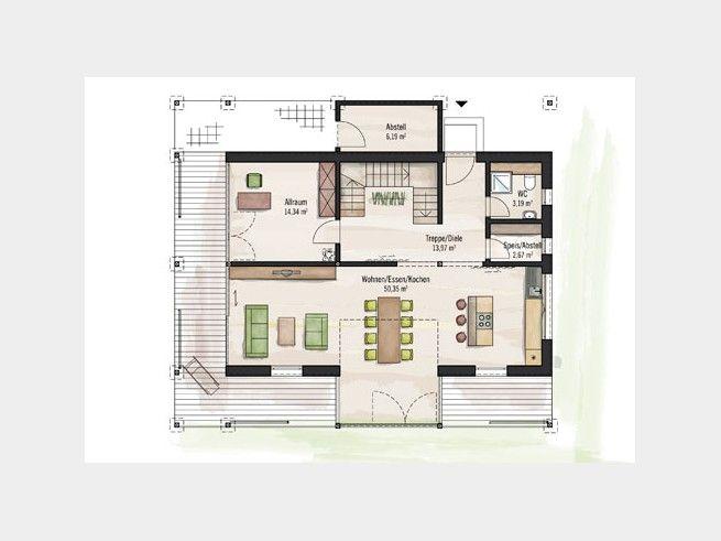 Grundriss EG Designhaus Plan #Einfamilienhaus von Baufritz ...