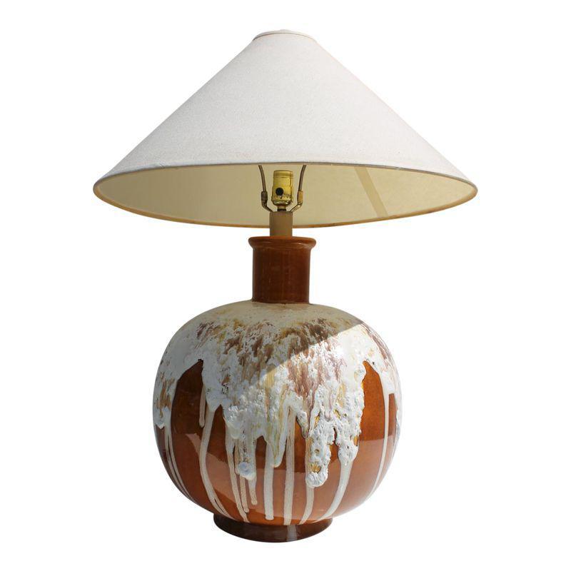 Mid Century Drip Glaze Lava Table Lamp Ceramic Table Lamps Lamp Orange Table Lamps