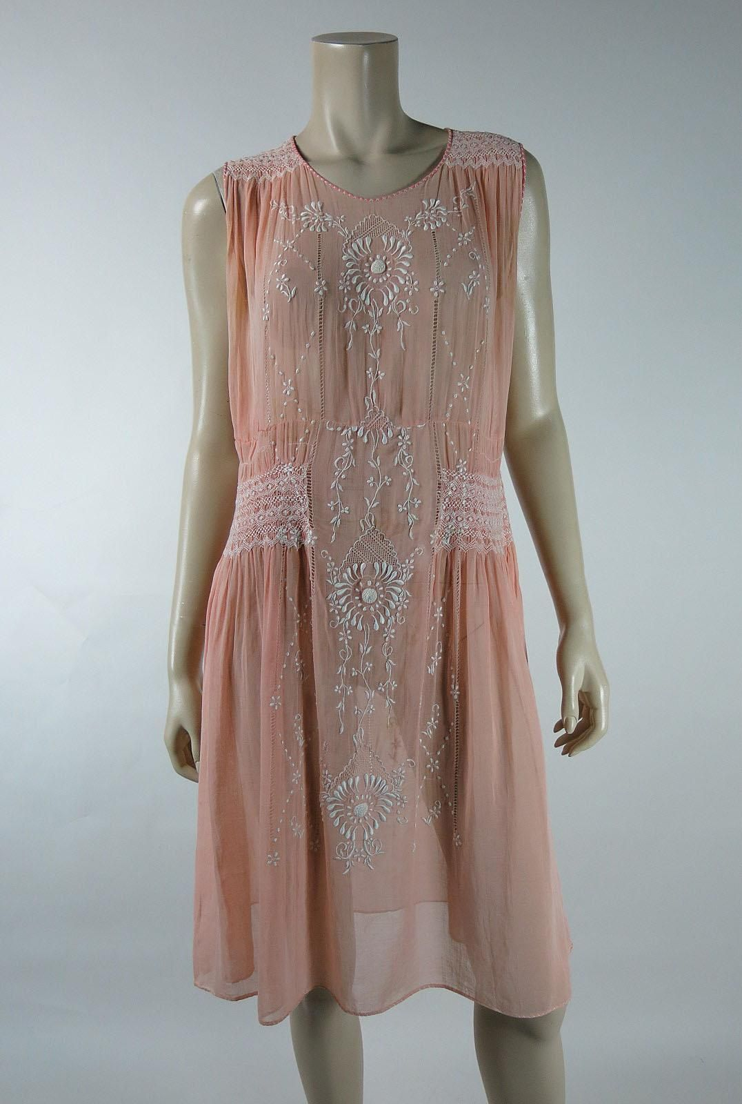 1920's vintage Hungarian gauzy pink cotton peasant style day dress with smocking, drawnwork and hand-embroidery. These pretty, exquisitely feminine
