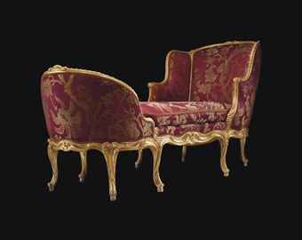 A LATE LOUIS XV GILTWOOD DUCHESSE  ATTRIBUTED TO TILLIARD, CIRCA 1760