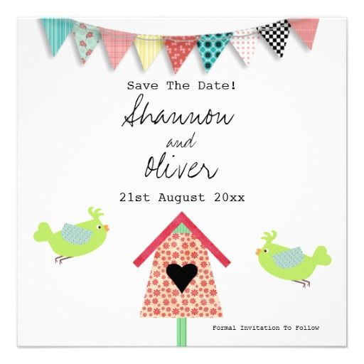 Cute Whimsical Birds And Birdhouse Save The Date Personalized Invite