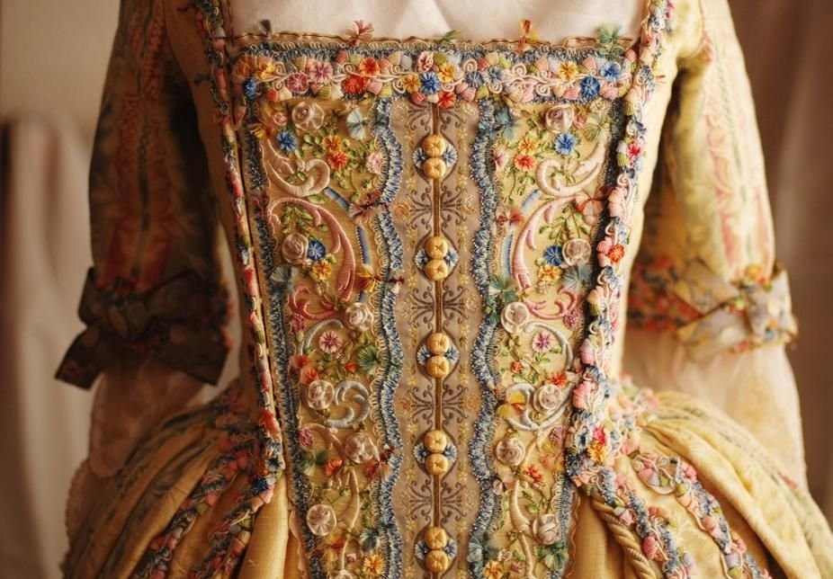 Close Up Of The Stomacher Of A Reproduction 1770s Gown Using Vintage