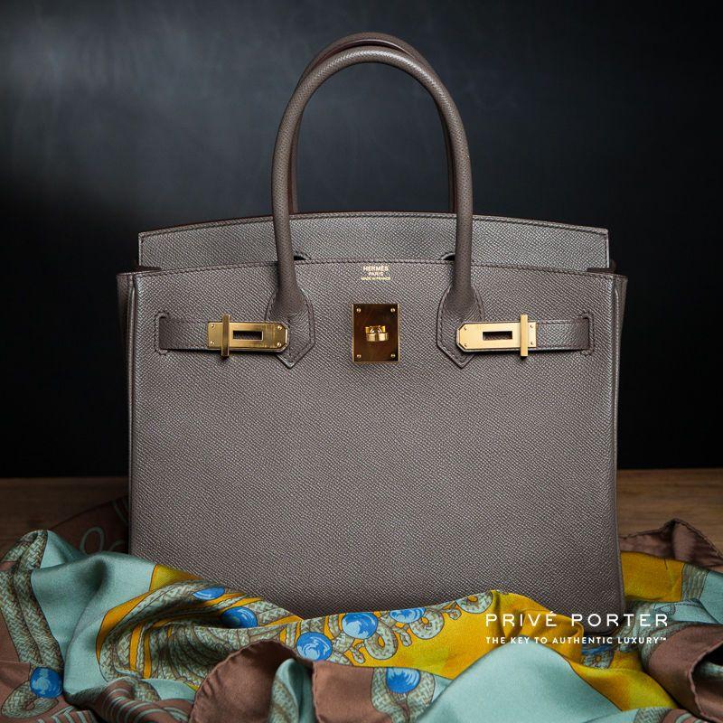 52e59788b387 Etain gray birkin 30cm hermes grey bag epsom leather gold ghw ...