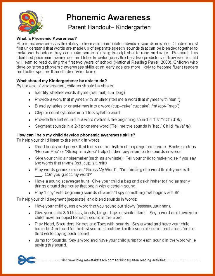 Free parent handouts for phonemic awareness, sight words, fluency ...