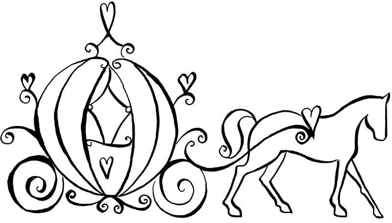 Cinderella Fairy Godmother Coloring Book Carriage Horse Wedding
