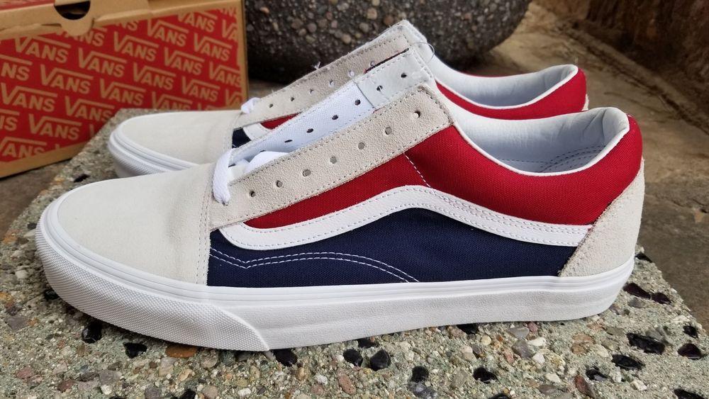 VANS OLD SKOOL (RETRO BLOCK) WHITE RED DRESS BLUES YACHT Men s SZ 12  VANS   AthleticSneakers c85141204