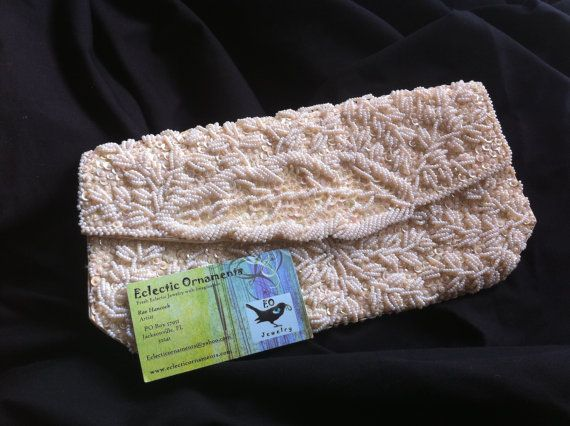Ivory Cream Beaded Vintage Clutch Handbag by EclecticOrnaments, $65.00