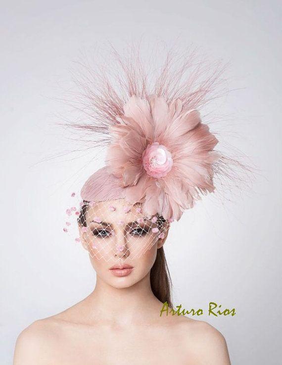 Melbourne Cup Blush pink Fascinator, Cocktail hat, Derby Hat, Couture Hat