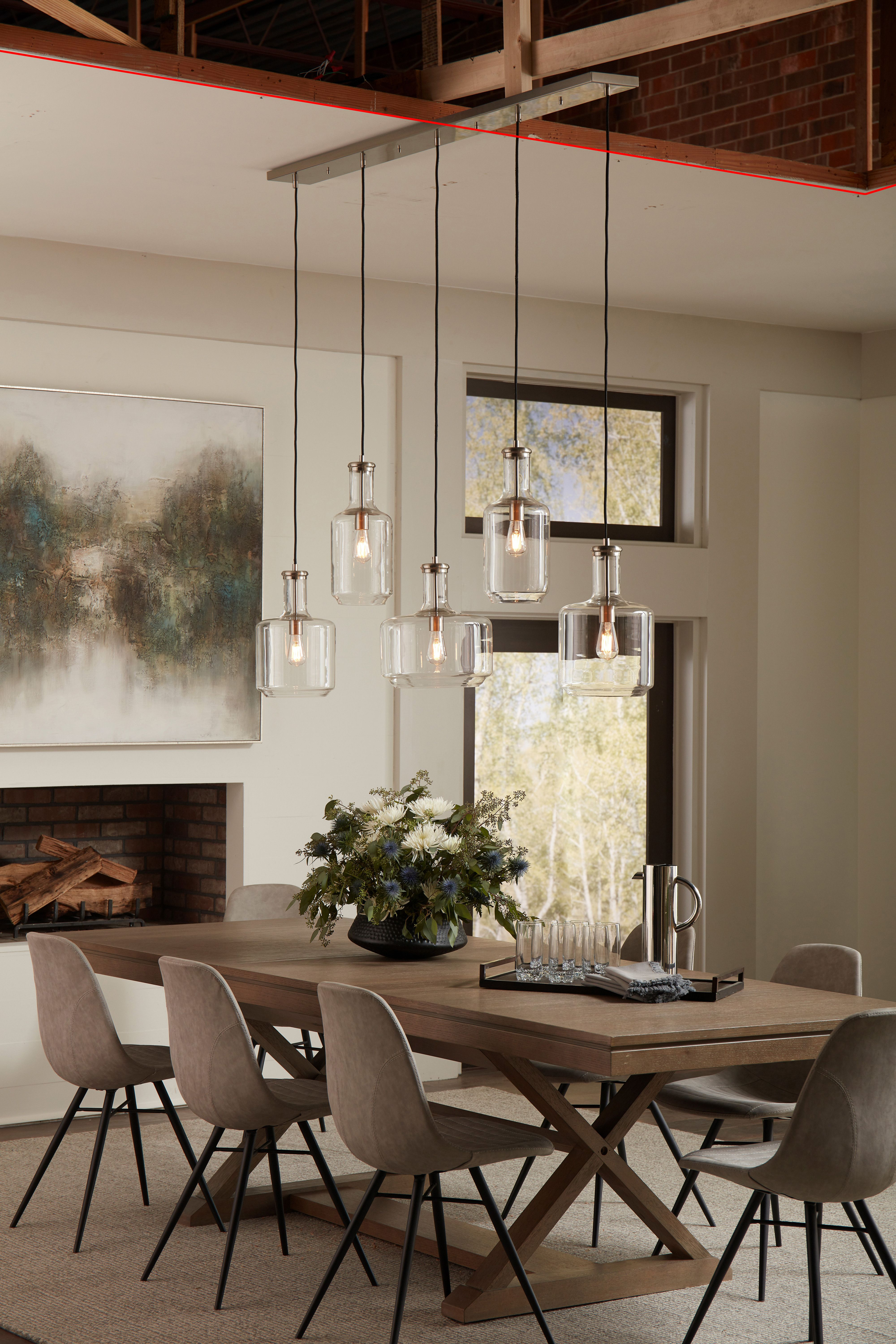 Modern Mountain Style Crisp Clean Lines In Dining Room Design Featuring Assorted Glass P Rustic Chandelier Dining Room Dining Room Lighting Rustic Dining Room