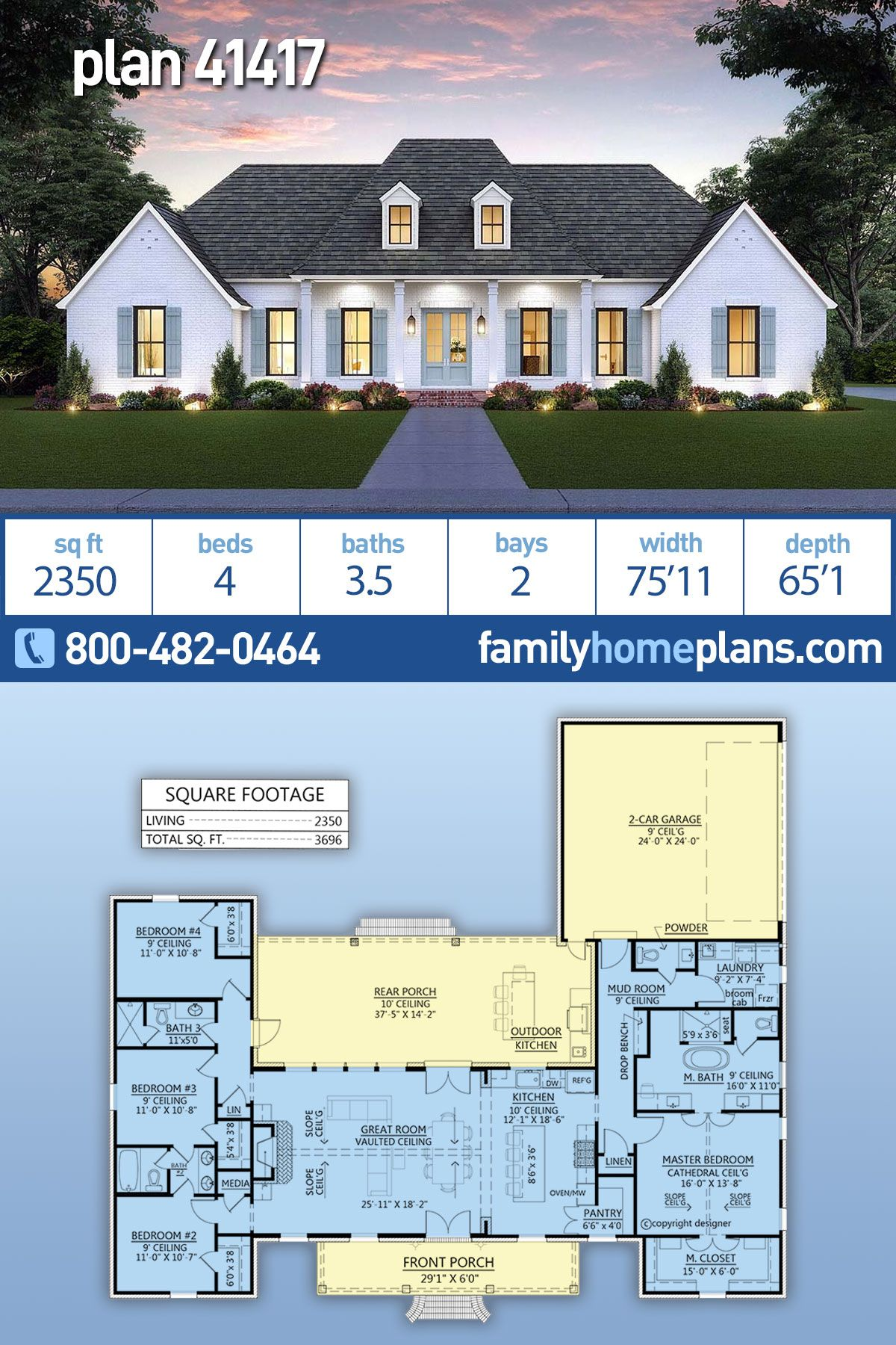 Southern Style House Plan 41417 With 4 Bed 4 Bath 2 Car Garage House Plans Farmhouse One Level House Plans House Plans