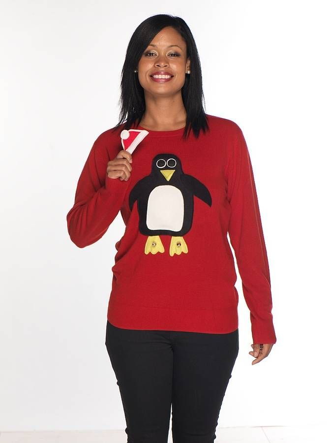 ladies squeaky tummy penguin christmas jumper by woolly babs