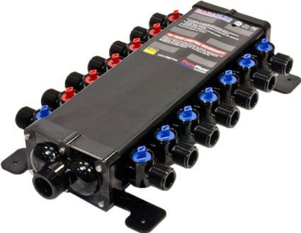 Viega 50143-1//2-Inch PureFlow Zero Lead Poly Alloy PEX Crimp Manabloc With 14 Ports 8 Cold 6 Hot