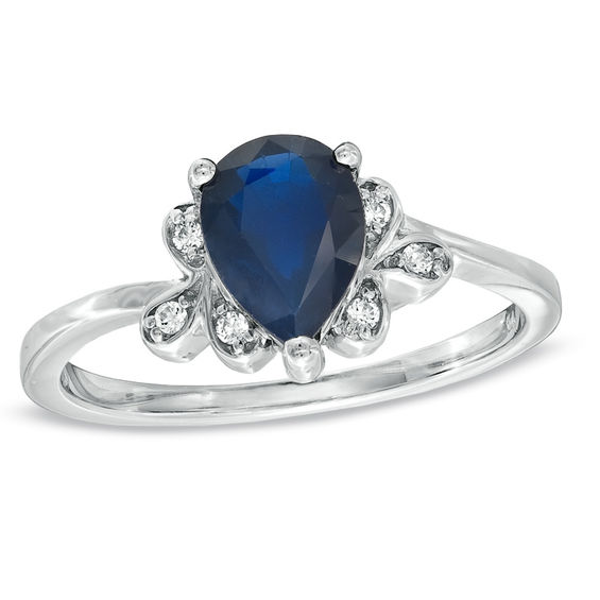 Pear Shaped Blue Sapphire And Diamond Accent Ring In 10k White Gold In 2020 Buy Diamond Ring White Gold Blue Sapphire