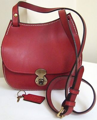 Mackenzie Of Edinburgh Handmade Red Leather Saddlebag Shoulder Bag Ebay